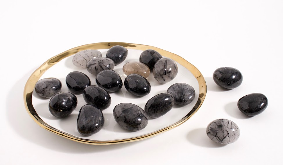 Tourmalinated Quartz Tumbled Stone